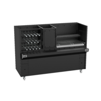 Black Finish Charcoal or Wood Fired Rotisserie with Grill & Fire Box- Super 380 Series