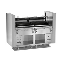 Customised Multi-purpose charcoal parrilla grill with electric lift & horizontal motorised spit