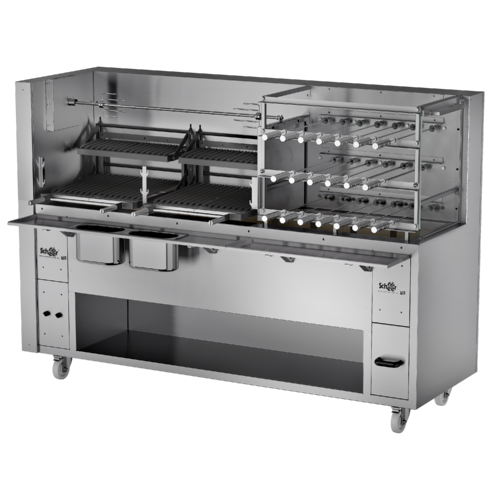 Charcoal or Wood Fired Rotisserie with Grill & Horizontal Spit- Super 350 Series